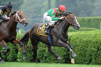 State of Play (no. 6), ridden by Ramon Dominguez and trained by H. Graham Motion, wins the 7th running of the grade 2 With Anticipation Stakes for two year olds on September 1, 2011 at Saratoga Race Track in Saratoga Springs, New York.  (Bob Mayberger/Eclipse Sportswire)