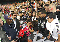 Jaime is kissed by a fan during festivities surrounding the final appearance of Jaime Moreno in a D.C. United uniform, at RFK Stadium, in Washington D.C. on October 23, 2010. Toronto won 3-2.