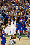 31 MAR 2012:  Darius Miller (1) of the University of Kentucky tries to block the shot of Tyshawn Taylor (10) of the University of Kansas in the championship game of the 2012 NCAA Men's Division I Basketball Championship Final Four held at the Mercedes-Benz Superdome hosted by Tulane University in New Orleans, LA. Kentucky defeated Kansas 67-59 to win the national title. Brett Wilhelm/NCAA Photos