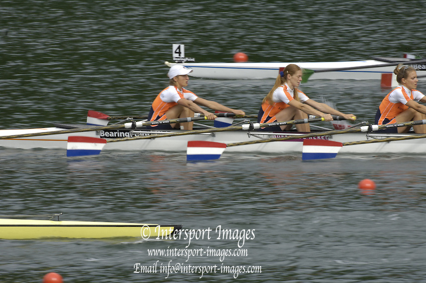 2005 FISA World Cup, Rotsee, Lucerne, SWITZERLAND, 08.07.2005 NED LW4X, moves away from the start  on the opening day of the final round of the 2005 FISA Rowing World Cup..© Peter Spurrier.  email images@intersport-images..[Mandatory Credit Peter Spurrier/ Intersport Images] Rowing Course, Lake Rottsee, Lucerne, SWITZERLAND.