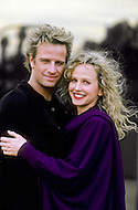 """Los Angeles, U.S.A, 1989. Christopher Lambert and Kim Greist during the filming of the movie """"Why Me?""""."""