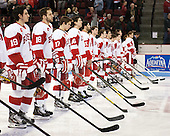 Matt Nieto (BU - 19), Wade Megan (BU - 18), Evan Rodrigues (BU - 17) - The Boston University Terriers defeated the visiting Northeastern University Huskies 5-0 on senior night Saturday, March 9, 2013, at Agganis Arena in Boston, Massachusetts.