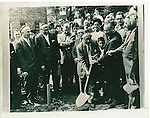 The groundbreaking ceremony for the Beth El Synagogue on Cooke Street  in Waterbury. Pictured here are Manuel Lax, Charles Rosengarten, Rudolph M. Hennick, Charles Walzer, Harry Fisher, and Dr. Irving Pinsky. 06 August 1960