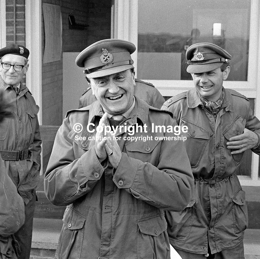 Lieutenant General Harry Tuzo, army supremo in N Ireland, escorted by armed bodyguards, visits Ballykinlar Army Camp, Co Down, N Ireland. 197/71, 197104250197d.<br /> <br /> Copyright Image from Victor Patterson, 54 Dorchester Park, Belfast, UK, BT9 6RJ<br /> <br /> t: +44 28 90661296<br /> m: +44 7802 353836<br /> vm: +44 20 88167153<br /> e1: victorpatterson@me.com<br /> e2: victorpatterson@gmail.com<br /> <br /> For my Terms and Conditions of Use go to www.victorpatterson.com