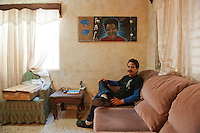 Artist Juan Francisco Gonzalez Rosales at his house in Matamoros, Mexico...My journey along the border from Brownsville and Matamoros to Juarez and El Paso..www.stefanfalke.com..
