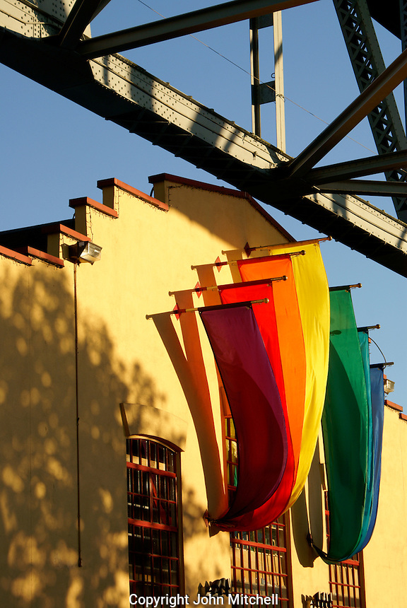 Colorful banners at sunset, Granville Island, Vancouver, British Columbia, Canada.