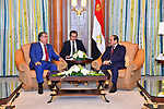 Egyptian President Abdel Fattah al-Sisi meets with President of the Republic of Tajikistan Emomali Rahmon, in the Saudi capital Riyadh on the sideline of the Arab American Islamic summit on May 21, 2017. Photo by Egyptian President Office