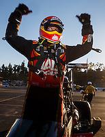 Nov 13, 2016; Pomona, CA, USA; NHRA top fuel driver Doug Kalitta celebrates after winning the Auto Club Finals at Auto Club Raceway at Pomona. Mandatory Credit: Mark J. Rebilas-USA TODAY Sports