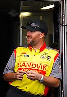 Sep 17, 2016; Concord, NC, USA; NHRA top fuel driver Shawn Langdon during qualifying for the Carolina Nationals at zMax Dragway. Mandatory Credit: Mark J. Rebilas-USA TODAY Sports