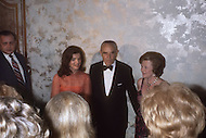 May 15th, 1974, Washington DC. Jacqueline Kennedy Onassis at the fund raising dinner held by The Democratic Study Group in honour of Governor W. Averell Harriman at the Sheraton Park Hotel in Washington. She was one of the special guests at the event.