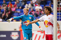 New York Red Bulls goalkeeper Ryan Meara (18) sets up the defense on a set play. The New York Red Bulls defeated the New England Revolution 1-0 during a Major League Soccer (MLS) match at Red Bull Arena in Harrison, NJ, on April 28, 2012.