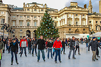 Skaters skating on the temporary (Christmas & New Year) icerink in the courtyard at Somerset House, the Strand, London, UK, 200812051628..Copyright Image from Victor Patterson, 54 Dorchester Park, Belfast, UK, BT9 6RJ..Tel: +44 28 9066 1296.Mob: +44 7802 353836.Voicemail +44 20 8816 7153.Skype: victorpattersonbelfast.Email: victorpatterson@mac.com.Email: victorpatterson@ireland.com (back-up)..IMPORTANT: If you wish to use this image or any other of my images please go to www.victorpatterson.com and click on the Terms & Conditions. Then contact me by email or phone with the reference number(s) of the image(s) concerned.