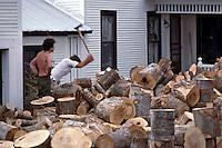 Splitting wood in Underhill VT.