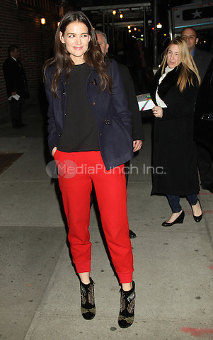 NEW YORK, NY - DECEMBER 20: Katie Holmes at the Ed Sullivan Theater for an appearance on Late Show With David Letterman. New ork City. December 20, 2012. Credit: RW/MediaPunch Inc.