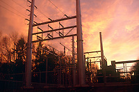 ELECTRIC COMPANY TRANSFORMER SUBSTATION<br /> Power Station at Sunset<br /> A transformer is a device that transfers electrical energy from one circuit to another through inductively coupled conductors--the transformer's coils.