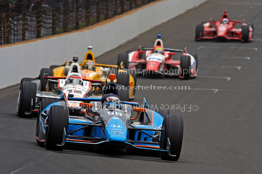 Alex Tagliani (#98), Will Power (#12), Ryan Hunter-Reay (#1), Justin Wilson (#19) and Dario Franchitti (#10)