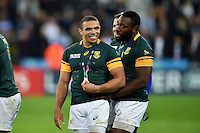 Bryan Habana of South Africa is all smiles after the match. Rugby World Cup Bronze Final between South Africa and Argentina on October 30, 2015 at The Stadium, Queen Elizabeth Olympic Park in London, England. Photo by: Patrick Khachfe / Onside Images