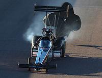 Feb 24, 2017; Chandler, AZ, USA; NHRA top fuel driver Scott Palmer during qualifying for the Arizona Nationals at Wild Horse Pass Motorsports Park. Mandatory Credit: Mark J. Rebilas-USA TODAY Sports