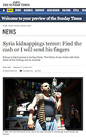 Tearsheet of &quot;Syria: FSA fighters&quot; published in The Sunday Times