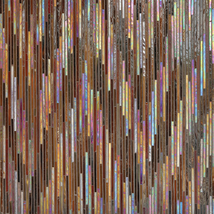 Pamir, a handmade jewel glass mosaic shown in Carnelian and Tortoise Shell, is part of the Ikat Collection by Sara Baldwin for New Ravenna Mosaics.<br />