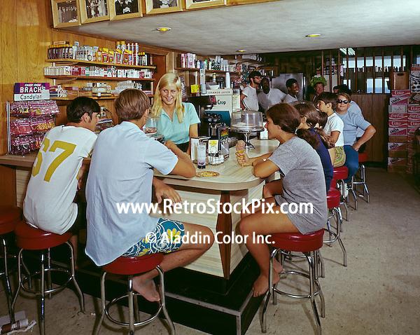 1960's retro coffee shop counter photograph