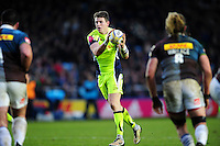 Sam James of Sale Sharks receives the ball. Aviva Premiership match, between Harlequins and Sale Sharks on January 7, 2017 at the Twickenham Stoop in London, England. Photo by: Patrick Khachfe / JMP