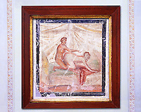 1 cent AD Roman Erotic  fresco of a man & woman having sex  from a house in Pompeii. Naples Archaological Museum inv no: 27696
