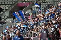 Bath supporters in the crowd celebrate a second half try. European Rugby Challenge Cup Semi Final, between Stade Francais and Bath Rugby on April 23, 2017 at the Stade Jean-Bouin in Paris, France. Photo by: Patrick Khachfe / Onside Images