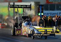 May 18, 2012; Topeka, KS, USA: NHRA top fuel dragster driver Khalid Albalooshi during qualifying for the Summer Nationals at Heartland Park Topeka. Mandatory Credit: Mark J. Rebilas-