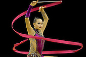 Olympic Test Event  Gymnastics. O2 Arena London England. 18.1.12. Rhythmic Competition. Anna.ALYABYEVA of Kazukstan