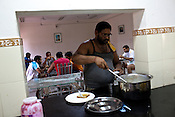 The Indian Kabbadi team in the dining hall of the hostel at a month long camp in Sport Authority of India Sports Complex in Bisankhedi, outskirts of Bhopal, Madhya Pradesh, India.