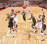 Ohio State Buckeyes forward Evan Ravenel (30) and Michigan Wolverines forward Jordan Morgan (52) fight for a rebound in the second half at Value City Arena on January 13, 2012.  (Chris Russell/The Columbus Dispatch)