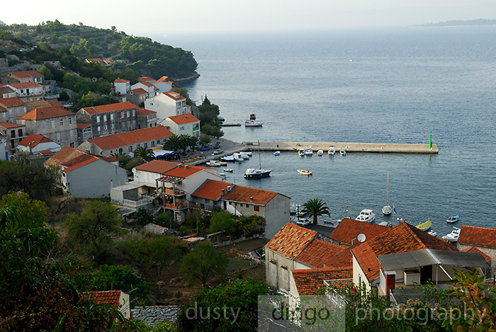 Elevated view of village of Racisce, island of Korcula, Croatia
