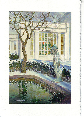 """Washington, D.C. - December 13, 2007 -- Front of the 2007 White House Christmas card sent by United States President George W. Bush and first lady Laura Bush.  The painting, originally a watercolor measuring 27 inches by 18 inches, was done by artist David Drummond.  It depicts the East Colonnade of the White House and the statue """"Gardener"""" by Sylvia Shaw Judson in the Jacqueline Kennedy Garden.  .Credit: Ron Sachs / CNP"""