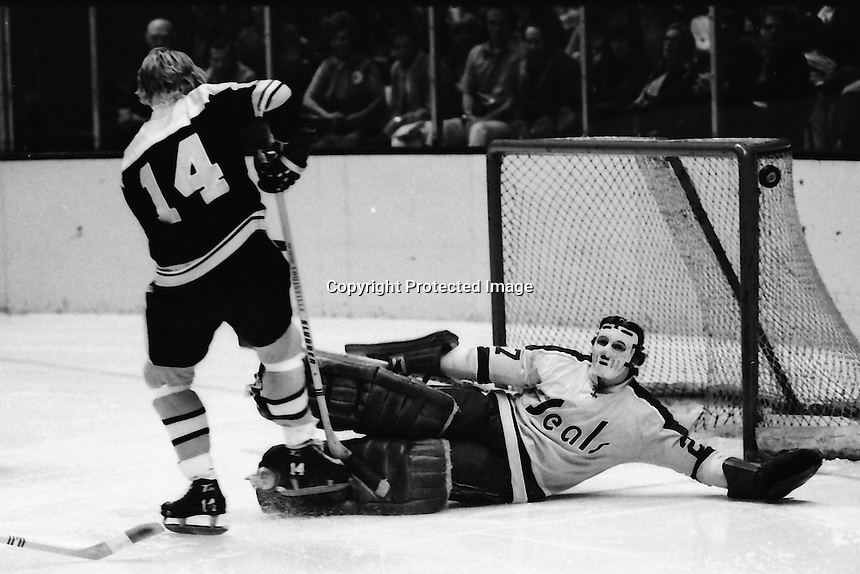"Boston Bruins #14 Garnet ""Ace"" Bailey attacks Seal goalie Gilles Meloche. (photo/Ron Riesterer)"