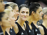 NZ's Anna Scarlett grins at captain Casey Williams during the Australian national anthem. International Netball  - New Zealand Silver Ferns v Australian Diamonds Constellation Cup match at TSB Bank Arena, Wellington on Thursday, 2 September 2010. Photo: Dave Lintott/lintottphoto.co.nz