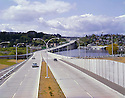 BI28,689-01...WASHINGTON - A 1965 photograph of the western end of the Evergreen Floating Bridge crossing Lake Union (now refered to as the 520).