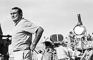 """1967, Del Rio, Texas, USA --- British director Andrew V. McLaglen on the set of his 1968 western """"Bandolero!"""", starring James Stewart, Dean Martin, and Raquel Welch. --- Image by © JP Laffont"""