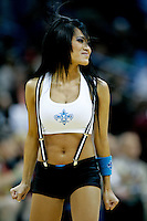 Nov 13, 2009; New Orleans, LA, USA; A New Orleans Hornets Honeybees dancer performs during a break in the action against the Portland Trail Blazers at the New Orleans Arena. The Trail Blazers defeated the Hornets 86-78. Mandatory Credit: Derick E. Hingle-US PRESSWIRE
