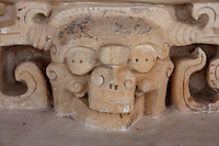 The Acropolis, Detail of a glyph, Ek Balam (?Black Jaguar? in Maya), flourished during the Late Classic period between 700 and 1200 AD, Yucatan, Mexico. Picture by Manuel Cohen