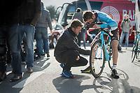 Hugo Houle (CAN/AG2R-LaMondiale) before the start<br /> <br /> 72nd Dwars Door Vlaanderen (1.UWT)<br /> 1day race: Roeselare &rsaquo; Waregem BEL (203.4km)
