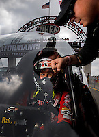 Sept. 1, 2013; Clermont, IN, USA: NHRA top fuel dragster driver Steve Torrence (right) with father Billy Torrence during qualifying for the US Nationals at Lucas Oil Raceway. Mandatory Credit: Mark J. Rebilas-
