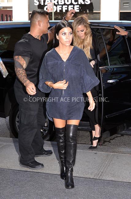 WWW.ACEPIXS.COM<br /> <br /> September 16 2015, New York City<br /> <br /> Kourtney Kardashian arrives at a downtown hotel on September 16 2015 in New York City<br /> <br /> By Line: Curtis Means/ACE Pictures<br /> <br /> <br /> ACE Pictures, Inc.<br /> tel: 646 769 0430<br /> Email: info@acepixs.com<br /> www.acepixs.com