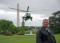 Marine One, with United States President Donald J. Trump Aboard, prepares to land on the South Lawn of the White House in Washington, DC on Saturday, May 13, 2017.  The President traveled to Lynchburg, Virginia to make remarks at the Liberty University Commencement ceremony <br /> Credit: Ron Sachs / Pool via CNP /MediaPunch