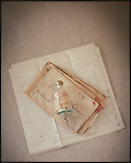 Old handwritten letters with an antique Russian medicine bottle
