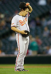 Baltimore Orioles reliever Jason Berken pitches against the Seattle Mariners' at SAFECO Field in Seattle April 19, 2010. The  Mariners beat the Orioles 8-2. Jim Bryant Photo. &copy;2010. ALL RIGHTS RESERVED.
