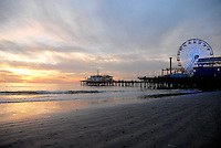 Santa Monica beach amid the sunset on Thursday, December 2, 2010.