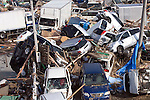 Vehicles battered by the massive March 11 tsunami are piled up in Natori City, Miyagi Prefecture, Japan on 13 March, 2011, two days after the disaster. .Photographer: Robert Gilhooly