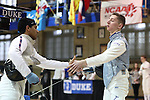11 February 2017: Duke's Jan Maceczek (right) shakes hands with MIT's Arjen Gupta (left) after defeating him in Foil. The Duke University Blue Devils hosted the Massachusetts Institute of Technology Engineers at Card Gym in Durham, North Carolina in a 2017 College Men's Fencing match. Duke won the dual match 19-8 overall, 7-2 Foil, 6-3 Epee, and 6-3 Saber.