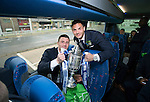 St Johnstone v Dundee United....17.05.14   William Hill Scottish Cup Final<br /> Michael O'Halloran and Gary Miller on the journey back to Perth<br /> Picture by Graeme Hart.<br /> Copyright Perthshire Picture Agency<br /> Tel: 01738 623350  Mobile: 07990 594431
